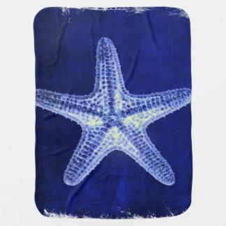 Cobertor Para Bebe estrela do mar azul náutica rústica da praia