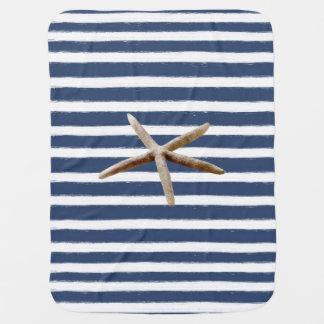 Cobertor Para Bebe Estrela do mar das listras dos azuis marinhos e do