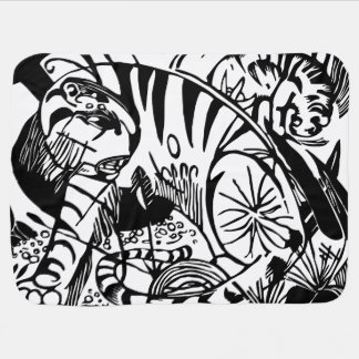 Cobertor Para Bebe Franz Marc - tigre preto e branco - arte abstracta