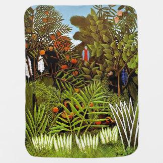 Cobertor Para Bebe Henri Rousseau - arte exótica da selva da paisagem