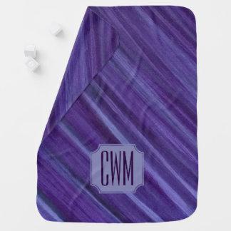 Cobertor Para Bebe Lilac violeta roxo do monograma indiferente do