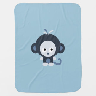 Cobertor Para Bebe Macaco bonito dos azuis bebés
