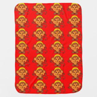Cobertor Para Bebe Macaco brincalhão bonito com banana