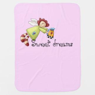 Cobertor Para Bebe Menina do rosa do anjo do jardim do país
