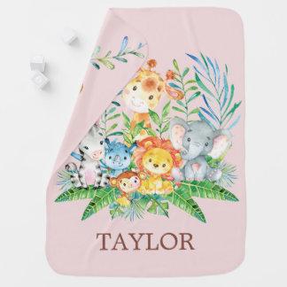 Cobertor Para Bebe Menina personalizada da selva do safari que recebe