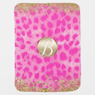 Cobertor Para Bebe Monograma cor-de-rosa do brilho do ouro do