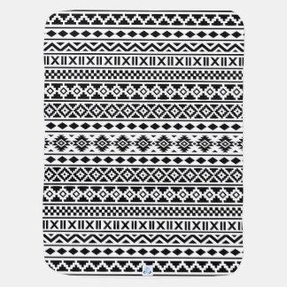 Cobertor Para Bebe Preto asteca do teste padrão da essência no branco