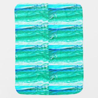 Cobertor Para Bebe teste padrão de onda azul/verde Thunder_Cove de
