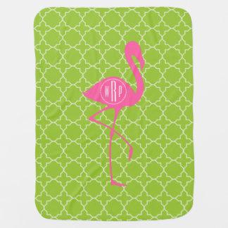 Cobertor Para Bebe Verde limão cor-de-rosa Quatrefoil do flamingo do