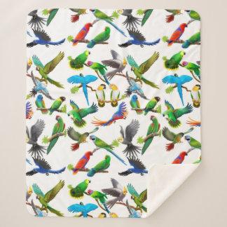 Cobertor Sherpa Cobertura tropical de Sherpa dos papagaios