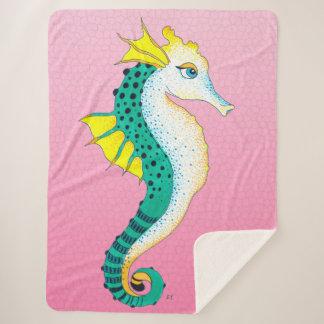 Cobertor Sherpa Rosa bonito da cerceta do cavalo marinho