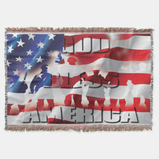 Cobertor Soldados americanos dos deus abençoe patrióticos e