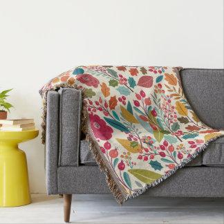 Cobertor Teste padrão colorido das flores & das folhas de