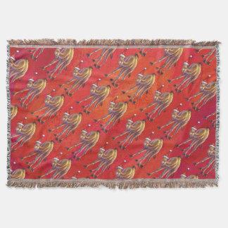 Cobertor Teste padrão festivo do camelo no vermelho
