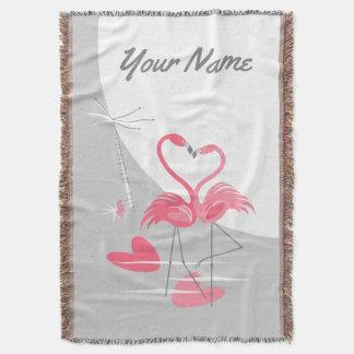 Cobertor Vertical do nome da lua do amor do flamingo grande