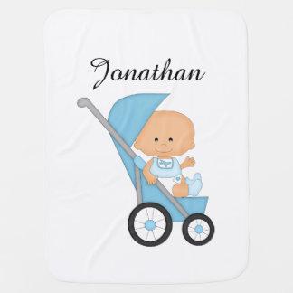 Cobertura azul personalizada do bebê do carrinho mantas de bebe