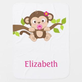 Cobertura bonito do bebê do macaco do bebé cobertor para bebe