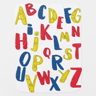 Cobertura do bebê da cor preliminar do alfabeto cobertorzinho para bebe