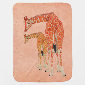 Cobertura rosa pálido do bebê dos girafas ambarino manta de bebe
