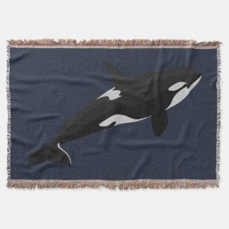 Coberturas do lance da arte da baleia de assassino throw blanket