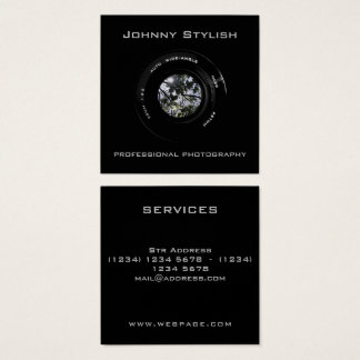Cobrir artístico da objectiva da foto cartão de visitas quadrado