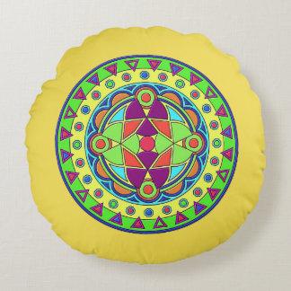 Cobrir ESCOVADO gravado do travesseiro decorativo Almofada Redonda