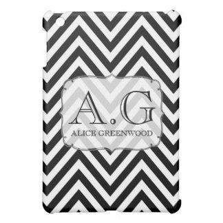 Cobrir preto & branco do monograma IPAD de Chevron Capas iPad Mini