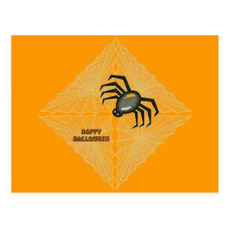 Cobweb e aranha do Dia das Bruxas Cartão Postal