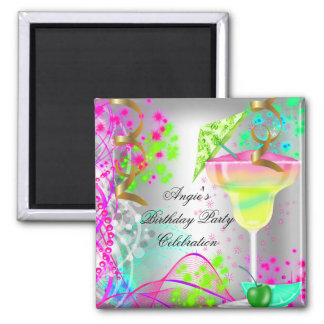 Cocktail colorido da festa de aniversário ímã quadrado