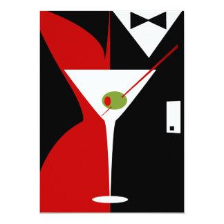 Cocktail elegante vermelho e preto de Martini Convites Personalizado