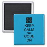 """Code.org """"mantem a calma e o código em """" ímã quadrado"""