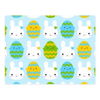 Coelhinho da Páscoa & ovos de Kawaii Cartão Postal