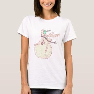 Coelho do inverno e bola da neve camisetas