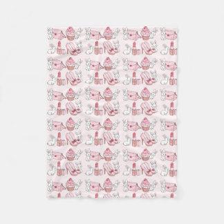 Coelhos com material cor-de-rosa cobertor de lã