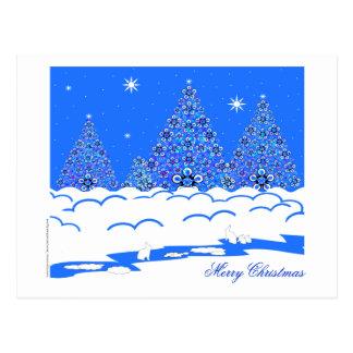 Coelhos no cartão do Feliz Natal da neve Cartão Postal