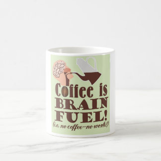 """Coffee is brain fuel! "" Caneca De Café"