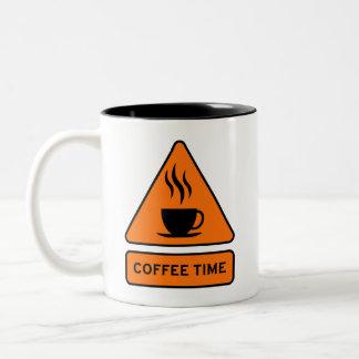 Coffee Time Hazard Sign Caneca De Café Em Dois Tons