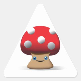 Cogumelo de botão bonito adesivo triangular