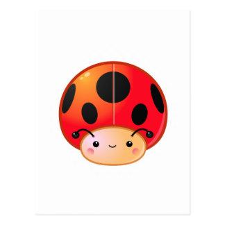 Cogumelo do joaninha de Kawaii Cartão Postal