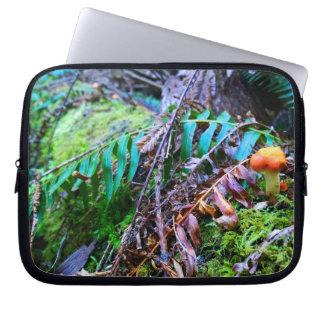 Cogumelo selvagem alaranjado pequeno na floresta capa para computador