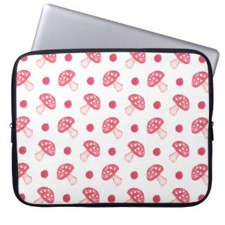 cogumelos vermelhos bonitos e bolinhas da aguarela bolsas e capas para computadores