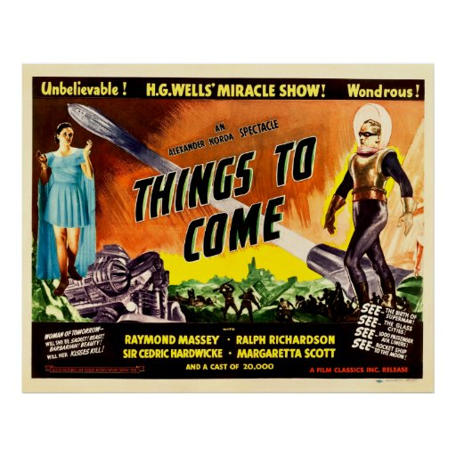 Coisas a vir - cartaz cinematográfico 1936 do vint poster