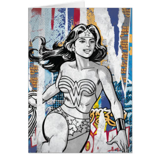 Colagem 4 da mulher maravilha cartão comemorativo