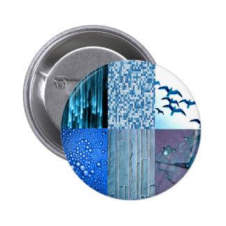 Colagem azul da foto bóton redondo 5.08cm
