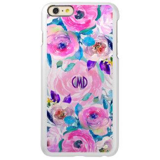 Colagem cor-de-rosa & roxa das flores das capa incipio feather® shine para iPhone 6 plus