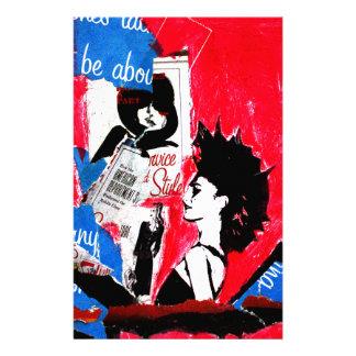 Colagem da estrela do punk rock com rosa, preto e papelaria