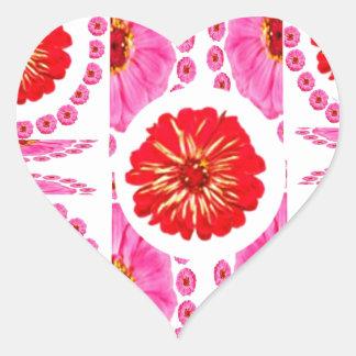 Colagem da flor do ZINNIA - cores do rosa do rosa Adesivo De Coração