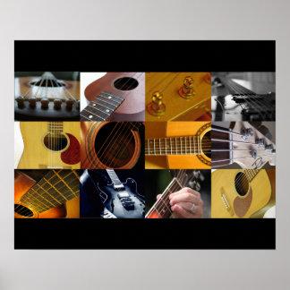 Colagem da foto da guitarra poster
