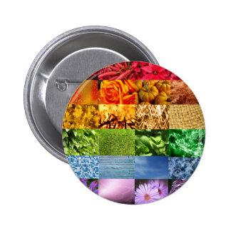 Colagem da foto do arco-íris bóton redondo 5.08cm