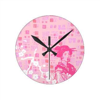 Colagem da gueixa do vintage relógio redondo